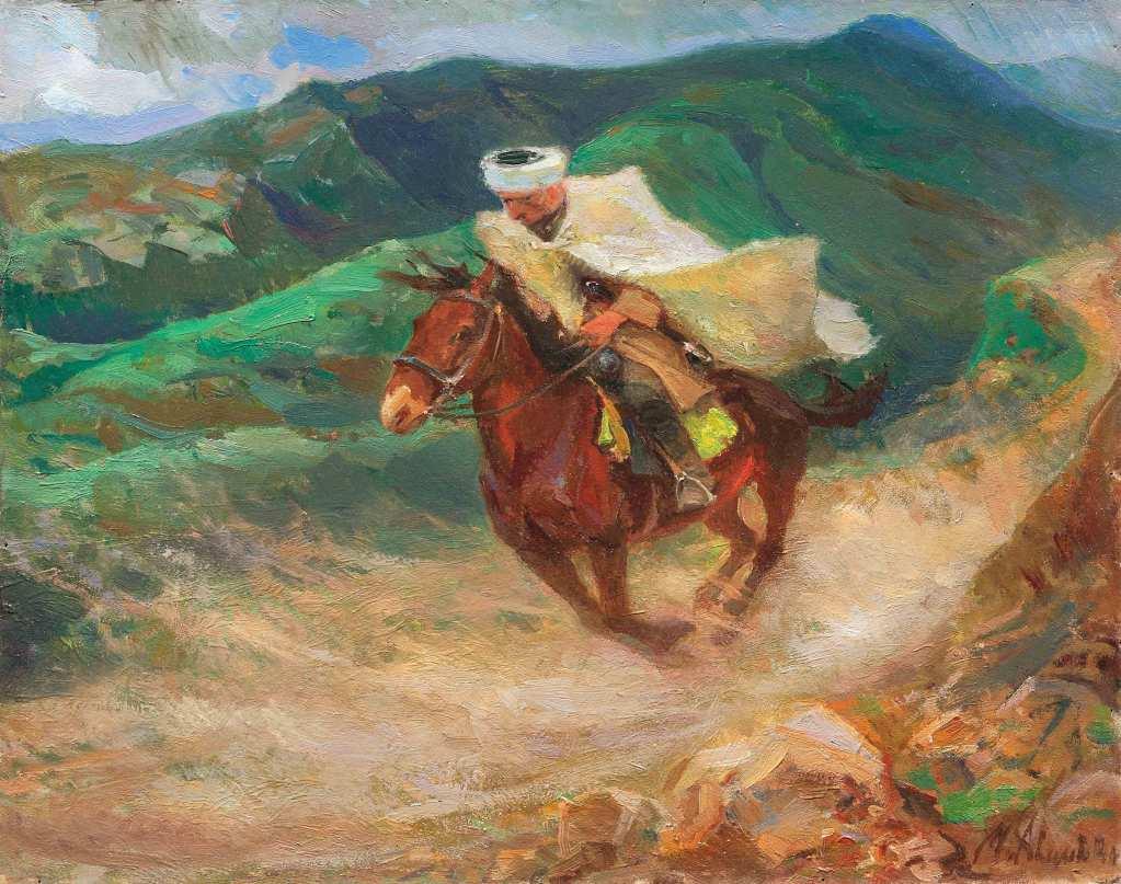 Horse_Russian_Tartar_Muslim_Tolstoy_Mikhail_St._Petersburg_Musuem_Paintings_USSR_Soviet_Avilov