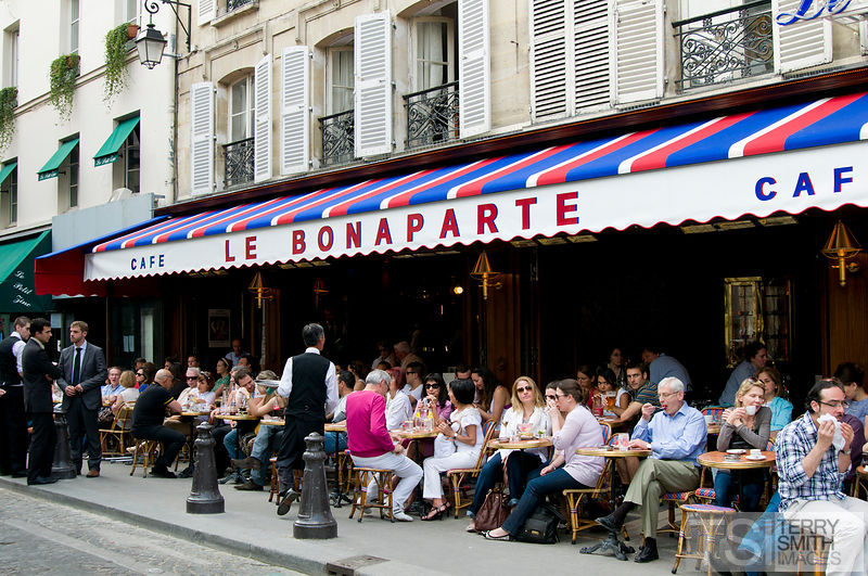 Cafe Le Bonaparte on St Germain des Pres in Paris, France