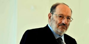 BOLOGNA, ITALY - APRIL 10: Umberto Eco emeritus professor of Alma Mater Studiorum gives a lectio magistralis ( Reflections on Pain ) during the Graduation Ceremony of the Master on Palliative Cares at the Mast on April 10, 2014 in Bologna, Italy. (Photo by Mario Carlini - Iguana Press/Getty Images)